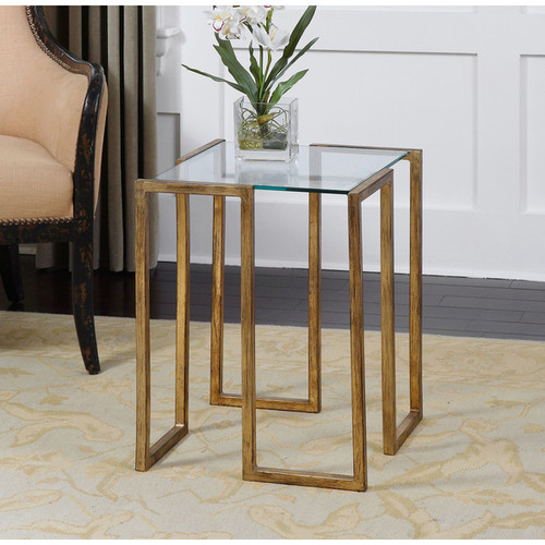Uttermost Coffee, Console, Sofa & End Tables Uttermost Mirrin Antique Gold Accent Table