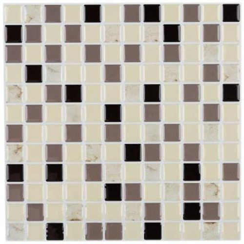 Instant Mosaic 3 in. x 6 in. Peel and Stick Mosaic Decorative Wall Tile Sample in Shades of Brown and Tan Marble