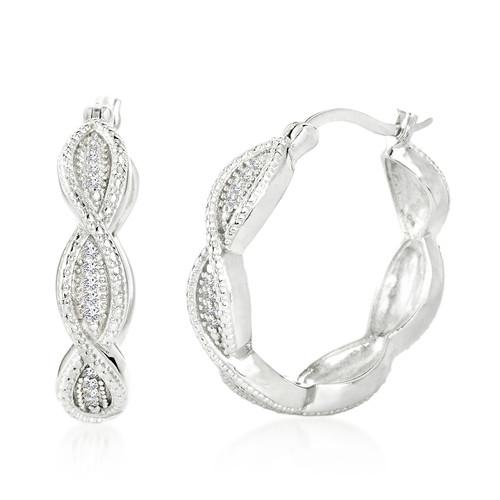 Diamond Accent Swirl Hoop Earrings