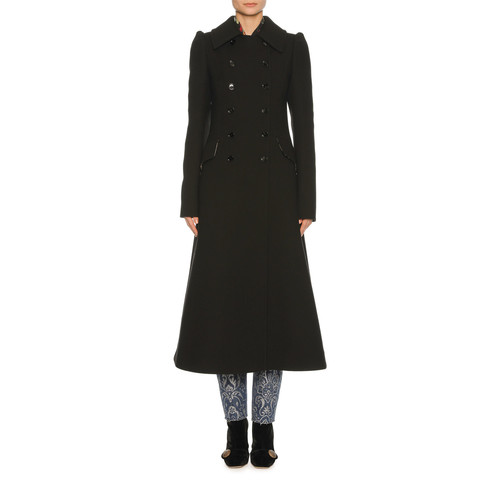 DOLCE & GABBANA Classic Virgin Wool Coat, Black