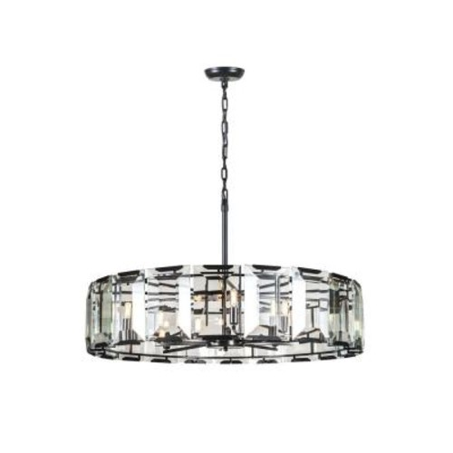 Elegant Lighting Monaco 10-Light Flat Black Matte Glass Crystal Clear Pendant
