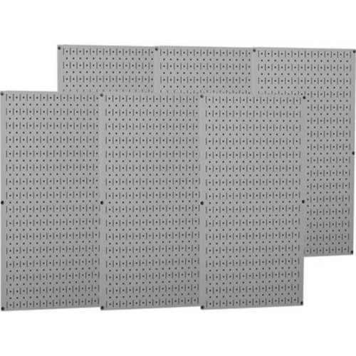 Wall Control Industrial Metal Pegboard - Gray, Six 16in. x 32in. Panels, Model# 35-P-3296GY