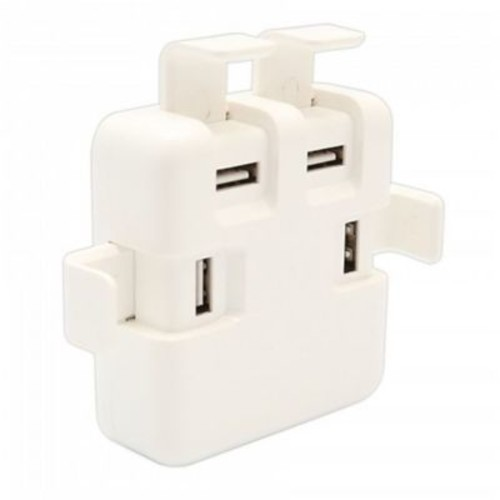 Syba 4x USB Type-A ChargIng Port Power Adapter (Input: AC100-240V 50/60Hz, Output: DC 5V 6A) - WhIte