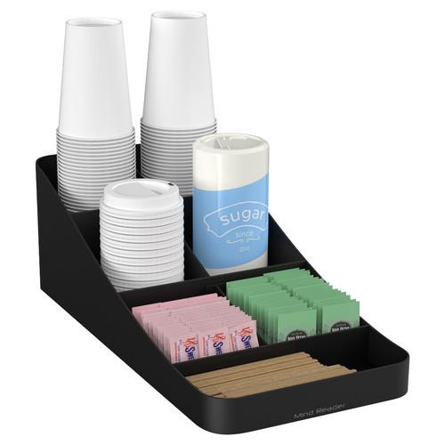 Mind Reader - Trove 7-Compartment Coffee Condiment Organizer - Black