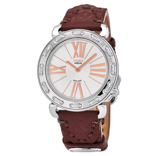 Fendi Women's F81336H.SSL7S 'Selleria' Silver Dial Bordeaux Leather Strap Swiss Quartz Watch - Women's