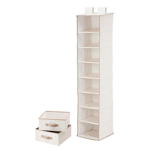 Honey-Can-Do 8-Shelf Hanging Vertical Closet Organizer With 2-Pack Drawers, 54