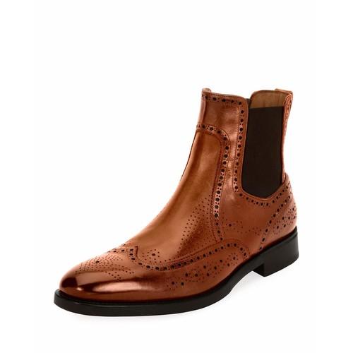 SALVATORE FERRAGAMO Drifton Wing-Tip Brogue Leather Chelsea Boot, Cognac Brown