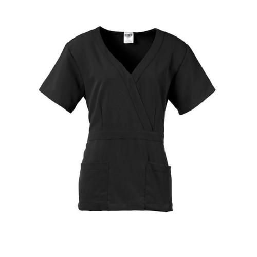 Park AVE Mock Wrap Ladies Scrub Top, Black, Large