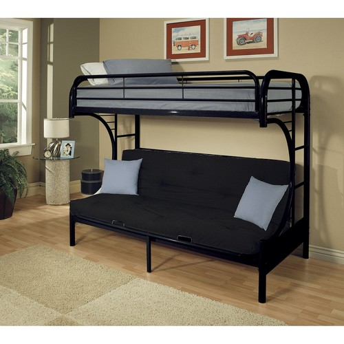 Acme Eclipse Twin XL Over Futon Metal Bunk Bed, Black