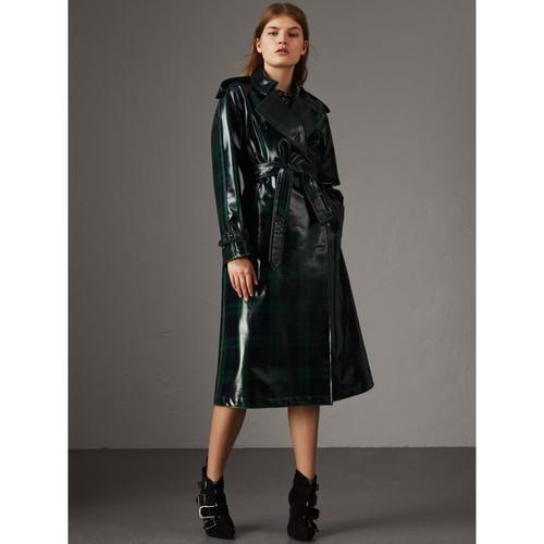 Laminated Tartan Wool Trench Coat