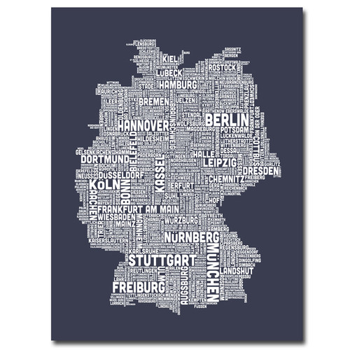 Trademark Global Michael Tompsett 'Germany City Map II' Canvas Art [Overall Dimensions : 18x24]