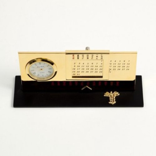 Bey-Berk International Medical Perpetual Calendar with Clock - Gold Plated