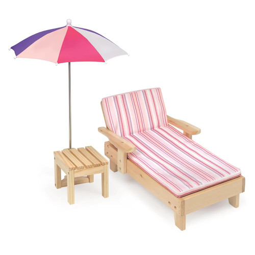 Badger Basket Doll Beach Lounger with Table & Umbrella