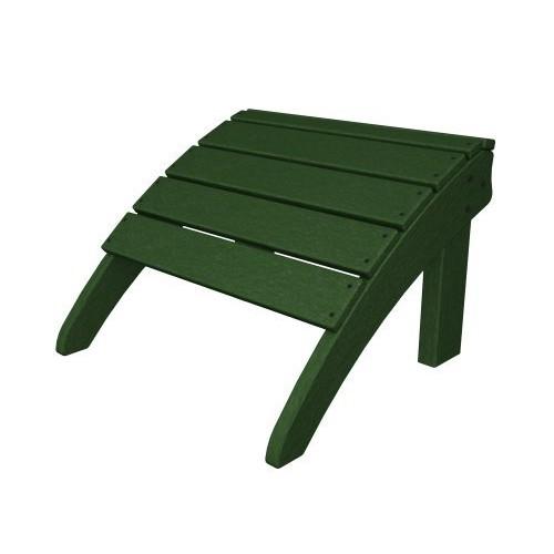 POLYWOOD SHO22GR Seashell Adirondack Chair Ottoman, Green [Green]
