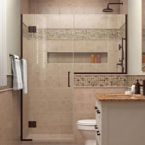 DreamLine Unidoor-X 62 in. to 62-1/2 in. x 72 in. Frameless Hinged Shower Door in Oil Rubbed Bronze with Buttress Panel