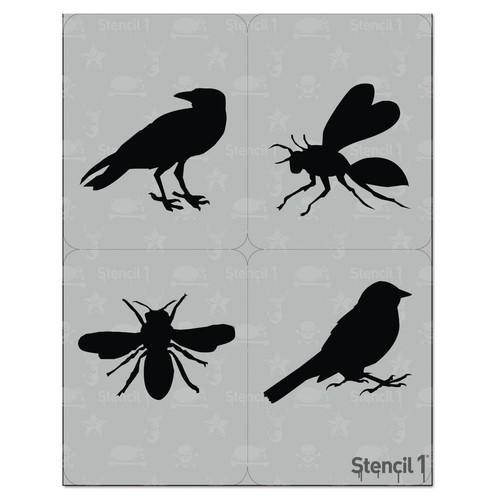 Stencil1 Birds and Bees Stencil (4-Pack)