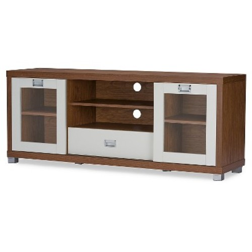 Matlock Modern Two-Tone TV Stand with Glass Doors Walnut/White 60