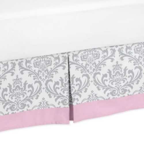 Sweet Jojo Designs Elizabeth Pleated Queen Bed Skirt in Pink/Grey
