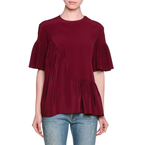 STELLA MCCARTNEY Short-Sleeve Ruffled Silk Top, Raspberry