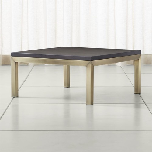 Parsons Pine Top/ Brass Base 36x36 Square Coffee Table
