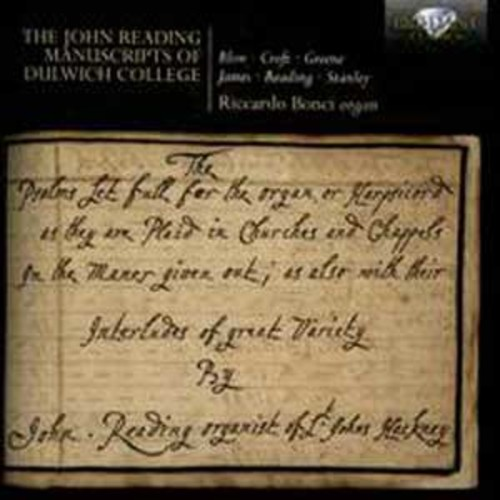 The John Reading Manuscripts of Dulwich College By Riccardo Bonci (Audio CD)