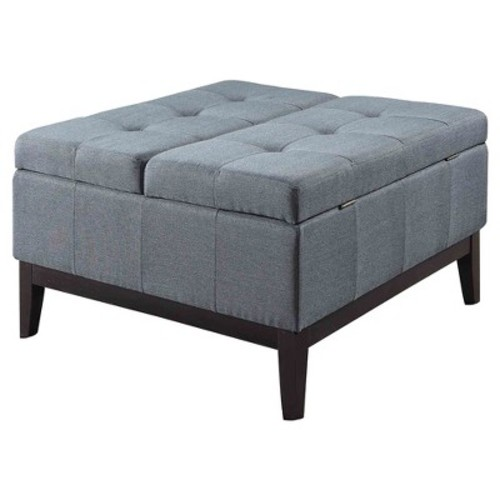 Blue Grey Dual Lift Storage Coffee Table Ottoman