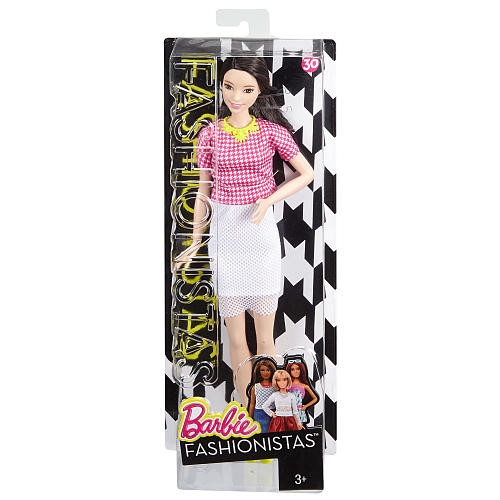Barbie Fashionistass Doll - White and Pink Plaid Top