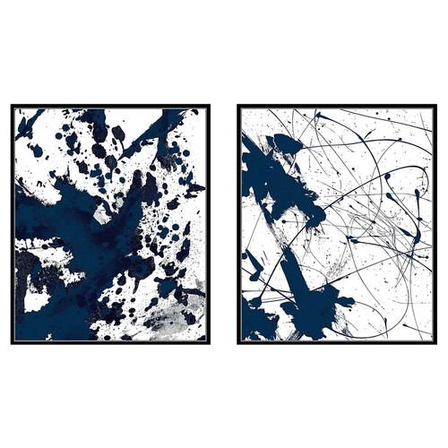 Abstract Print Diptych, Blue