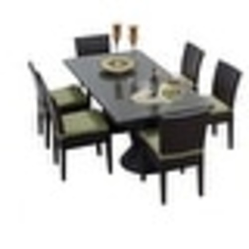 Miseno MPF-NAPARECTKIT6C Wine Country 7-Piece Aluminum Framed Outdoor Dining Set with Rectangular Glass Tabletop and Side Chairs