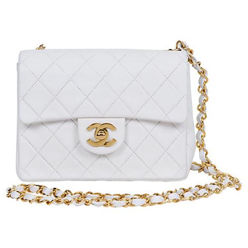 Chanel White Cross Body Mini Flap