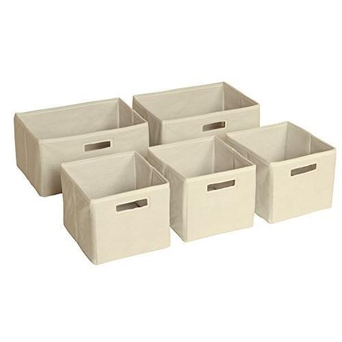 Guidecraft Fabric Bins: Set Of 5, Foldable Cloth Classroom Storage, Kid's Toy & Books Cube Organizers