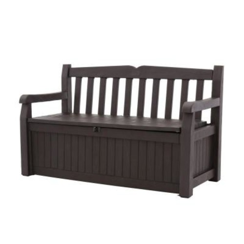 Keter Eden 70 Gal. Outdoor Garden Patio Deck Box Storage Bench in Brown
