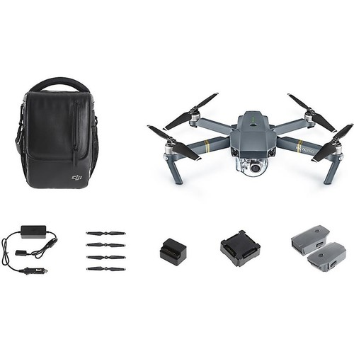 DJI Mavic Pro Quadcopter Fly More Combo Aerial drone with gimbal-mounted 4K camera, remote control, extra battery, carrying case, and more