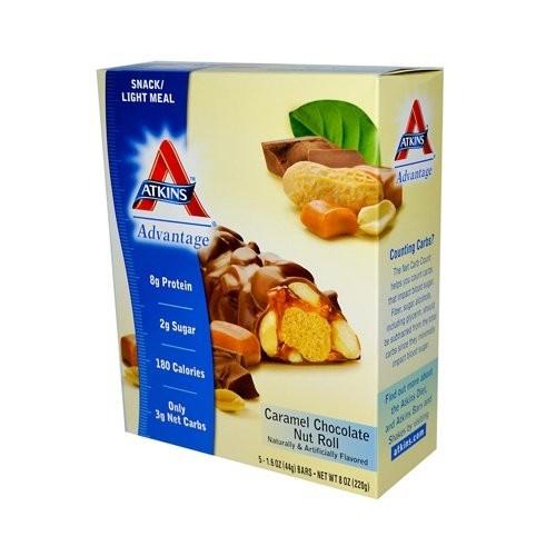 Atkins Nut Roll, Caramel Chocolate 5 - 1.6 oz (44 g) bars 8 oz (220 g)