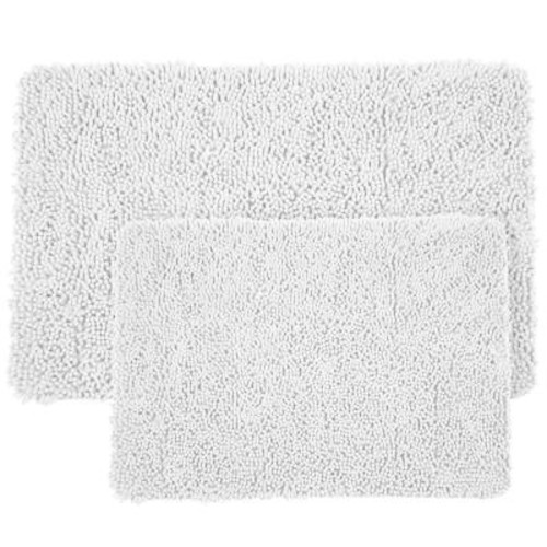 Lavish Home Shag White 21 in. x 32 in. Memory Foam 2-Piece Bath Mat Set