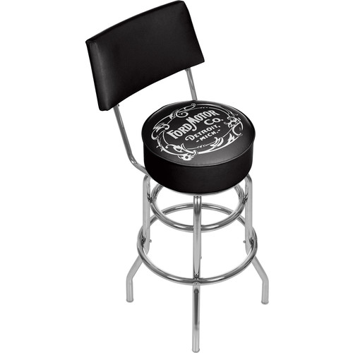 Ford Vintage 1903 Motor Company 31 in. Chrome Swivel Cushioned Bar Stool