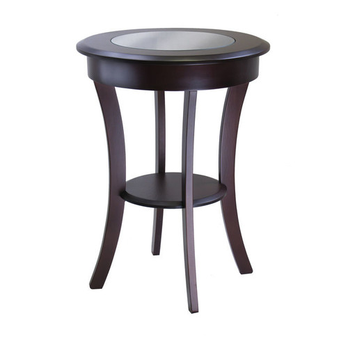 Winsome Wood Cassie Round Accent Table with Glass