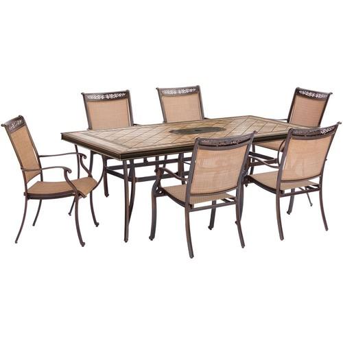 Hanover Fontana 7-Piece Aluminum Rectangular Outdoor Dining Set with Tile-Top Table