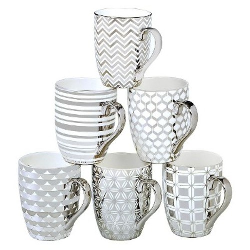 Certified International Elegance Silver Plated Assorted Tapered Mugs - Set of 6