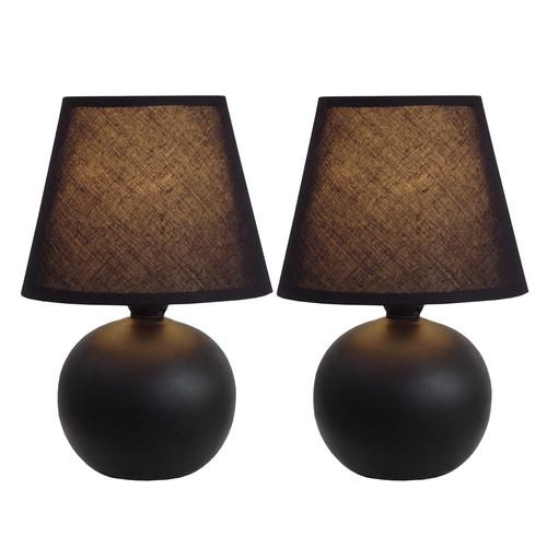 Simple Designs Mini Ceramic Globe Table Lamp 2 Pack Set Black