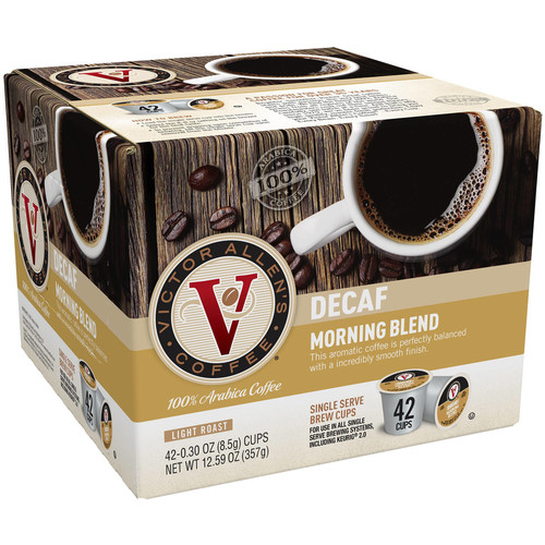 Victor Allens Decaffeinated Morning Blend Coffee (42 Single Serve Cups per Case)
