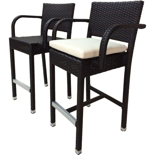 SunFlower Espresso All-Weather Wicker Patio Outdoor Bar Stool with Cream Cushion (2-Pack)