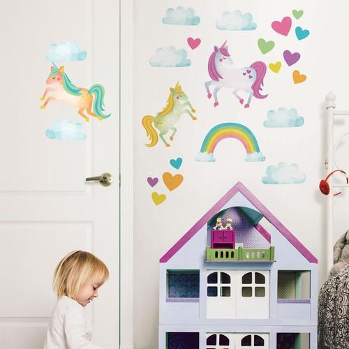WallPops Multi-Color One Love Unicorns Wall Decal