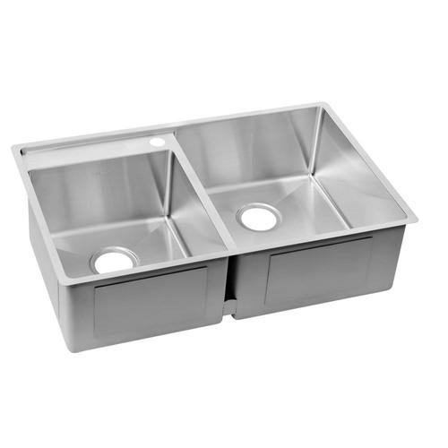 Elkay Crosstown Undermount Stainless Steel 33 in. 1-Hole Double Bowl Lowered Deck Kitchen Sink