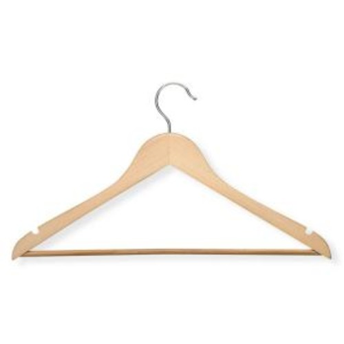 Honey-Can-Do Basic Suit Maple Hanger with Non-Slip Bar (8-Pack)