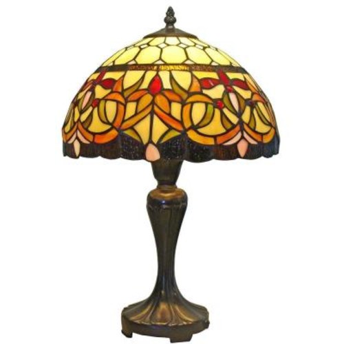 Amora Lighting 19 in. Tiffany Style Floral Table Lamp
