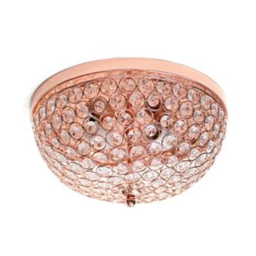 Elegant Designs Elipse Crystal 2-Light Flush-Mount Ceiling Fixture in Rose G