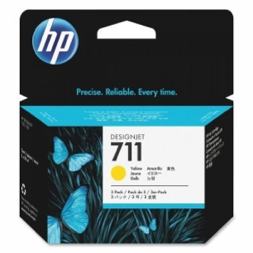 HP 711 3-Pack 29-ml Yellow Ink Cartridges - Inkjet - 3 / Pack - CZ136A