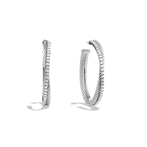 Extra-Large Crossover Hoop Earrings with Diamonds