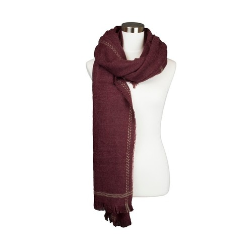 Womens Striped Edge Accented Frayed Fringe Fall and Winter Oblong Scarf